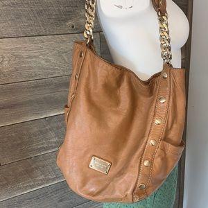 MICHAEL KORS Cognac Brown leather gold Hobo Bag